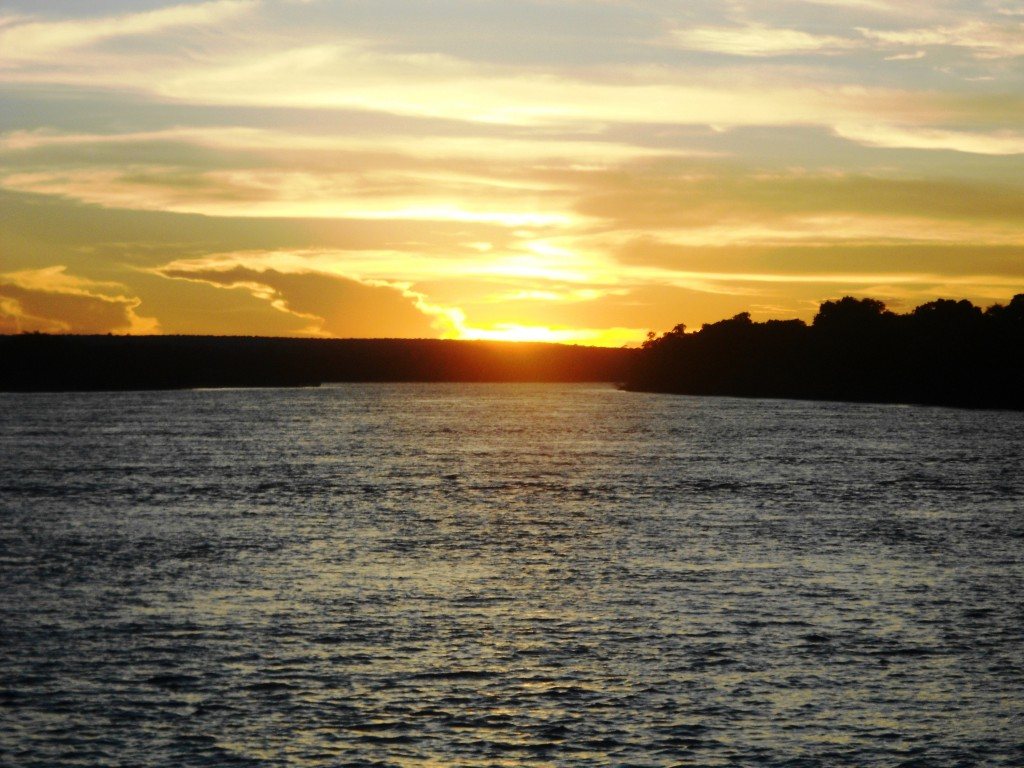 Sunset on the Zambezi river aboard the Lady Livingstone