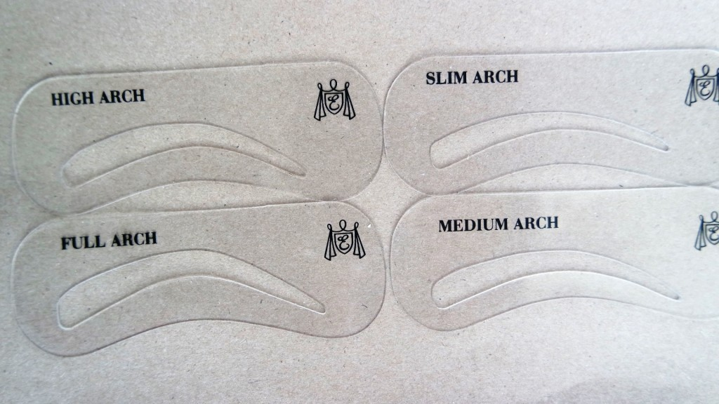 Shaping eyebrows using an eyebrow stencil - the different arches available
