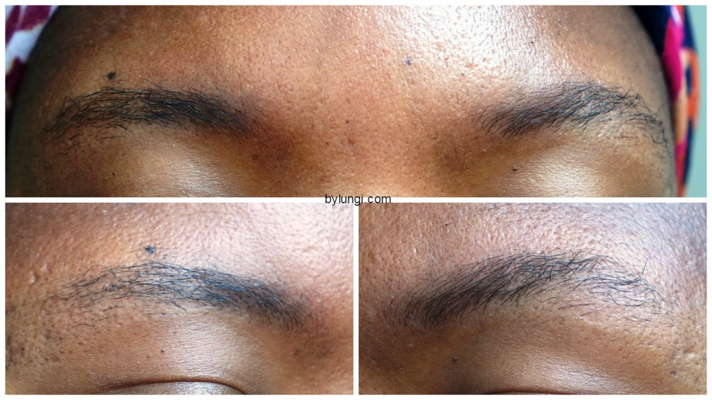 Shaping eyebrows using an eyebrow stencil - Eyebrows Before