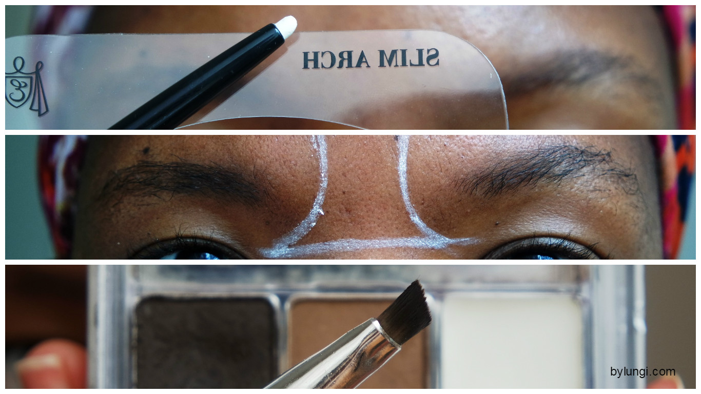 Shaping eyebrows using an eyebrow stencil - Placing the stencil and filling in the brows