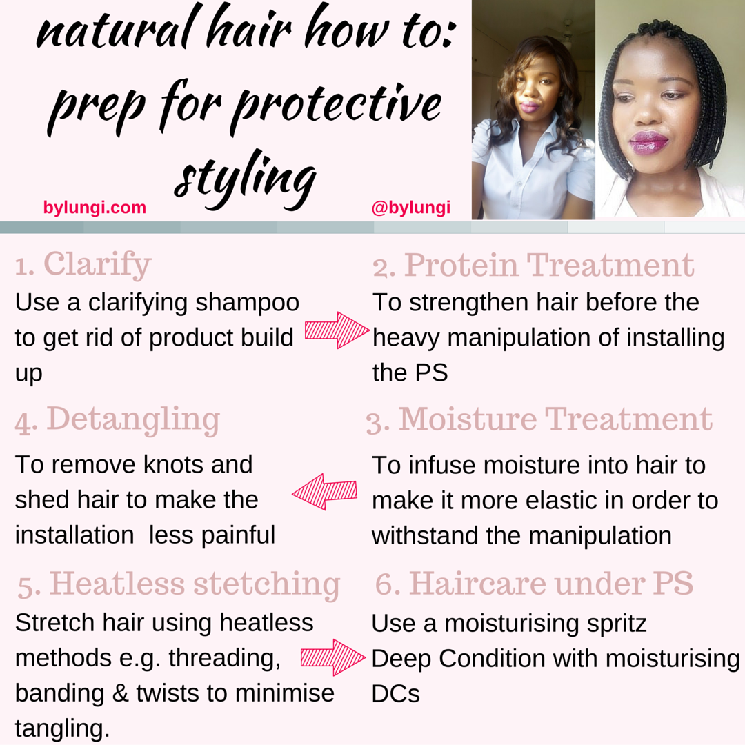 how to prep natural hair for protective styling