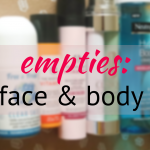 face and body product empties