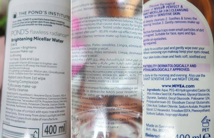 Micellar water ingredients