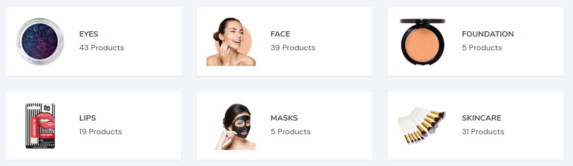 Glamore Cosmetics Product Range
